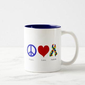 Peace. Love. Autism. (bright colored) Mug