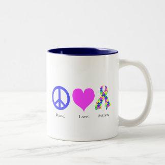 Peace. Love. Autism. (pastel colored) Mug
