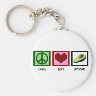Peace Love Avocado Basic Round Button Keychain