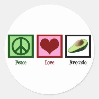 Peace Love Avocado Classic Round Sticker