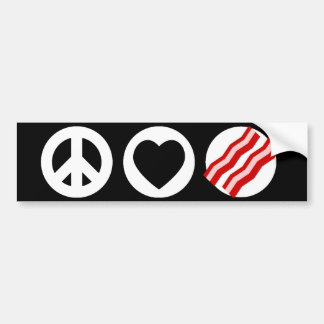 Peace Love Bacon Bumper Sticker