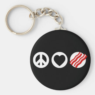 Peace Love Bacon Keychain