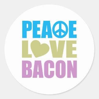 Peace Love Bacon Round Sticker