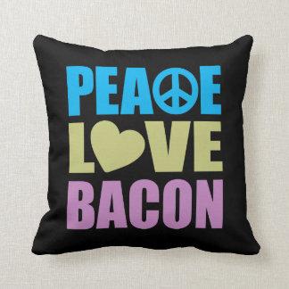 Peace Love Bacon Throw Pillow