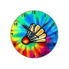 Peace, Love, Badminton Round Clock