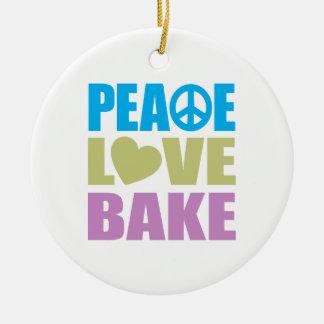 Peace Love Bake Ceramic Ornament