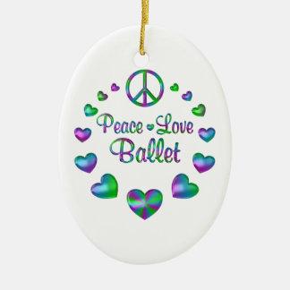 Peace Love Ballet Ceramic Oval Ornament