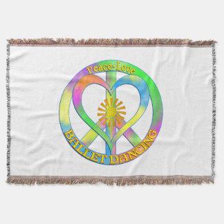 Peace Love Ballet Dancing Throw Blanket