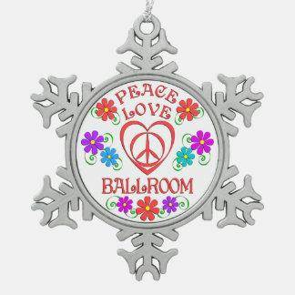 Peace Love Ballroom Snowflake Pewter Christmas Ornament