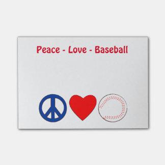 Peace Love Baseball Memo Notes
