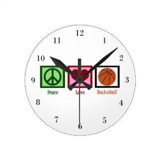 Peace Love Basketball Round Clock