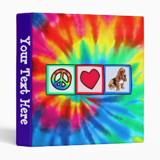 Peace, Love, Basset Hounds 3 Ring Binders
