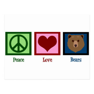 Peace Love Bears Postcard