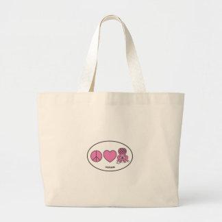 Peace, Love, Beaver Large Tote Bag