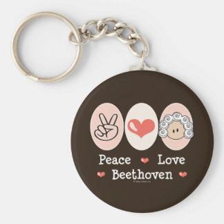 Peace Love Beethoven Keychain
