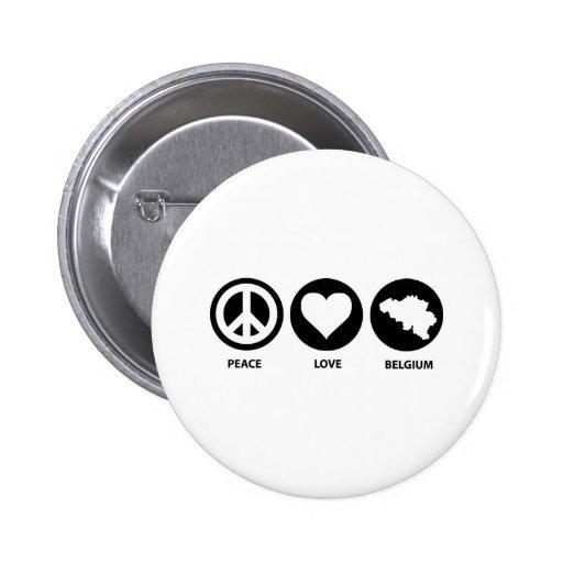 Peace Love Belgium Buttons