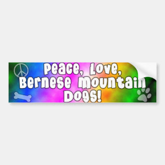 Peace Love Bernese Mountain Dog Bumper Sticker