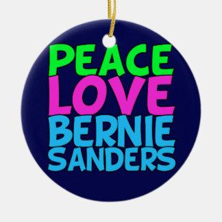 Peace Love Bernie Sanders (blue) Round Ceramic Ornament