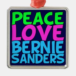 Peace Love Bernie Sanders (blue) Silver-Colored Square Ornament