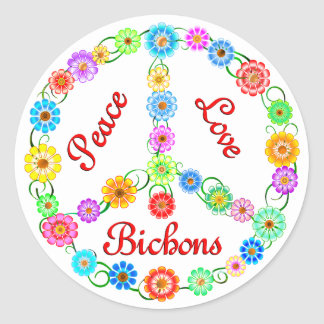 Peace Love Bichons Classic Round Sticker