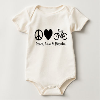 Peace, Love & Bicycles Baby Bodysuit