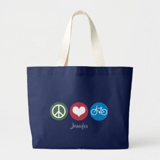 Peace Love & Bike Personalized Tote2 Large Tote Bag