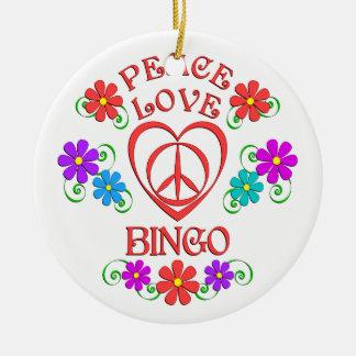 Peace Love Bingo Ceramic Ornament