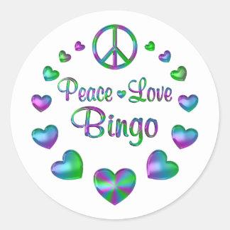 Peace Love Bingo Classic Round Sticker