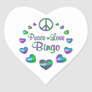 Peace Love Bingo Heart Sticker