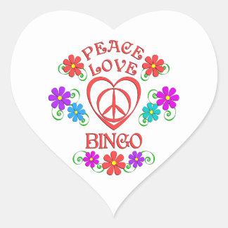 Peace Love Bingo Heart Sticker