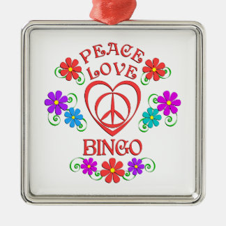 Peace Love Bingo Metal Ornament
