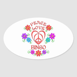 Peace Love Bingo Oval Sticker
