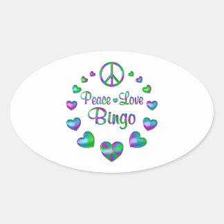 Peace Love Bingo Oval Sticker