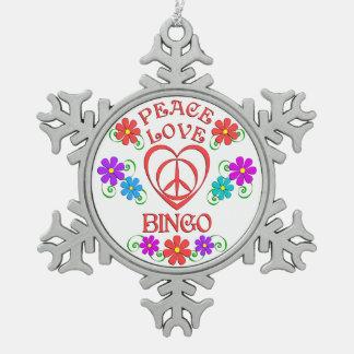 Peace Love Bingo Snowflake Pewter Christmas Ornament