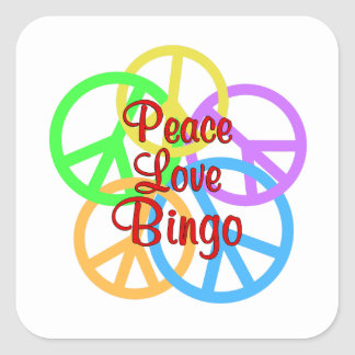 Peace Love Bingo Square Sticker