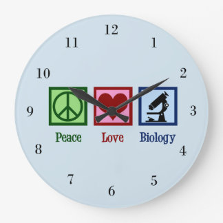 Peace Love Biology Large Clock