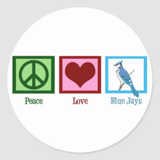 Peace Love Blue Jays Classic Round Sticker