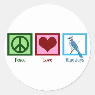 Peace Love Blue Jays Round Sticker