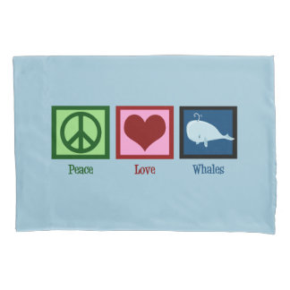 Peace Love Blue Whale Cute Pillowcase