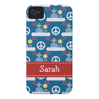 Peace Love Blue Whale iPhone 4 4s Case-Mate Cover iPhone 4 Cases