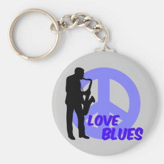 Peace love blues basic round button keychain