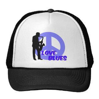 Peace love blues hats