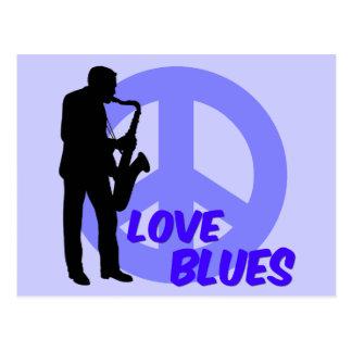 Peace love blues postcard