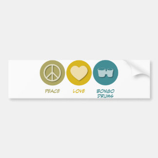 Peace Love Bongo Drums Bumper Sticker