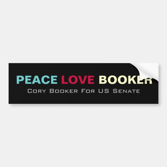 Peace Love Booker US Senate Bumper Sticker