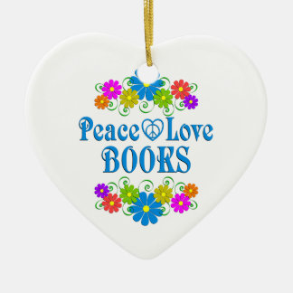 Peace Love Books Ceramic Ornament