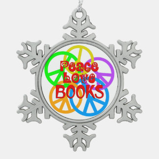 Peace Love Books Pewter Snowflake Ornament