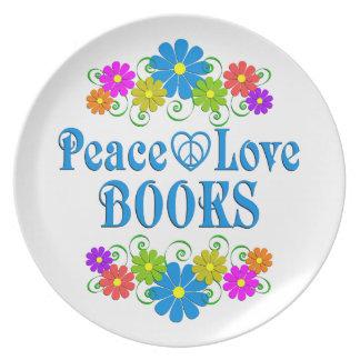 Peace Love Books Plate