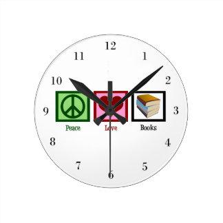 Peace Love Books Round Clock
