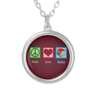 Peace Love Books Silver Plated Necklace